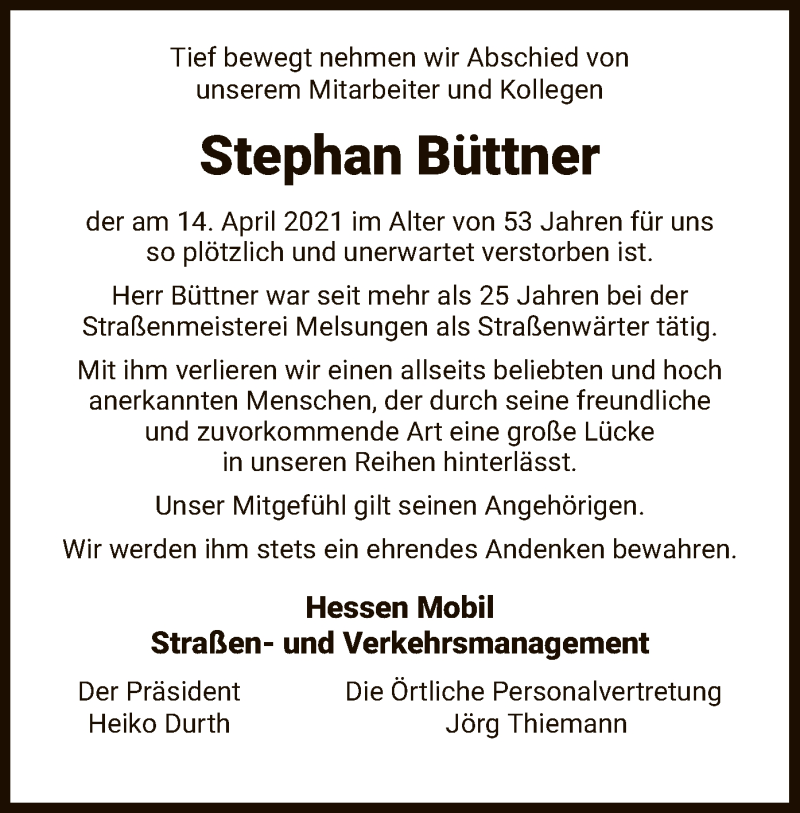 Traueranzeige für Stephan Büttner vom 24.04.2021 aus HNA