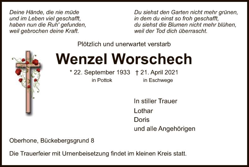 Traueranzeige für Wenzel Worschech vom 30.04.2021 aus WRS