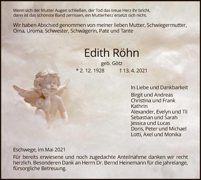 Traueranzeige für Edith Röhn vom 01.05.2021 aus WRS