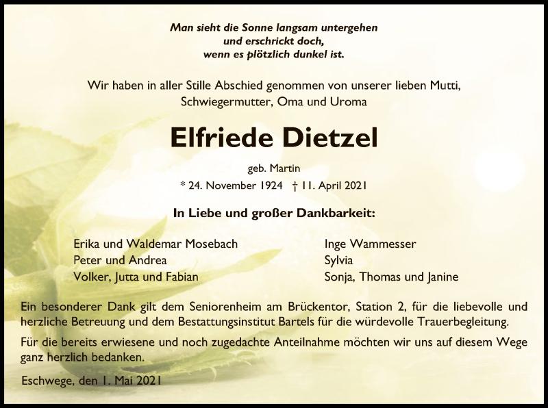 Traueranzeige für Elfriede Dietzel vom 01.05.2021 aus WRS