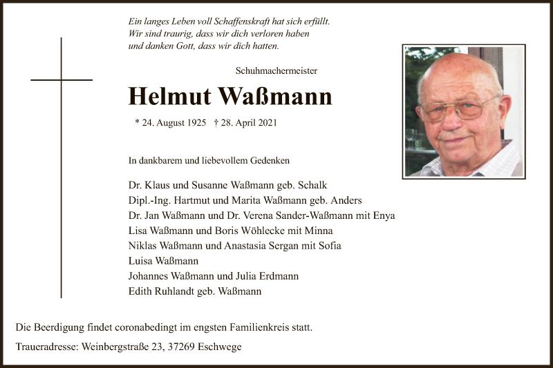 Traueranzeige für Helmut Waßmann vom 01.05.2021 aus WRS
