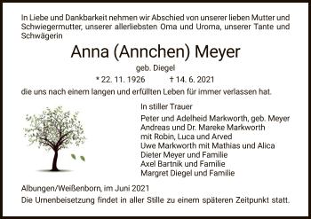 Traueranzeige von Anna Meyer von WRS