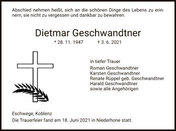 Traueranzeige von Dietmar Geschwandtner von WRS