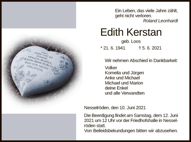 Traueranzeige für Edith Kerstan vom 10.06.2021 aus WRS