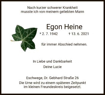 Traueranzeige von Egon Heine von WRS