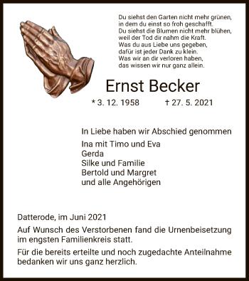 Traueranzeige von Ernst Becker von WRS