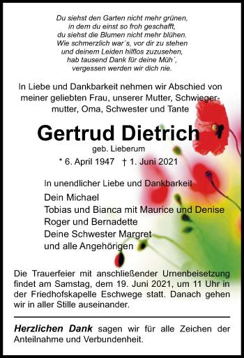 Traueranzeige von Gertrud Dietrich von WRS