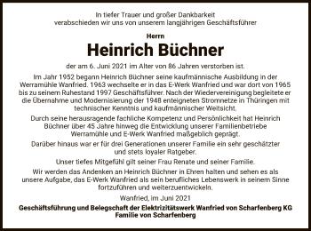 Traueranzeige von Heinrich Büchner von WRS