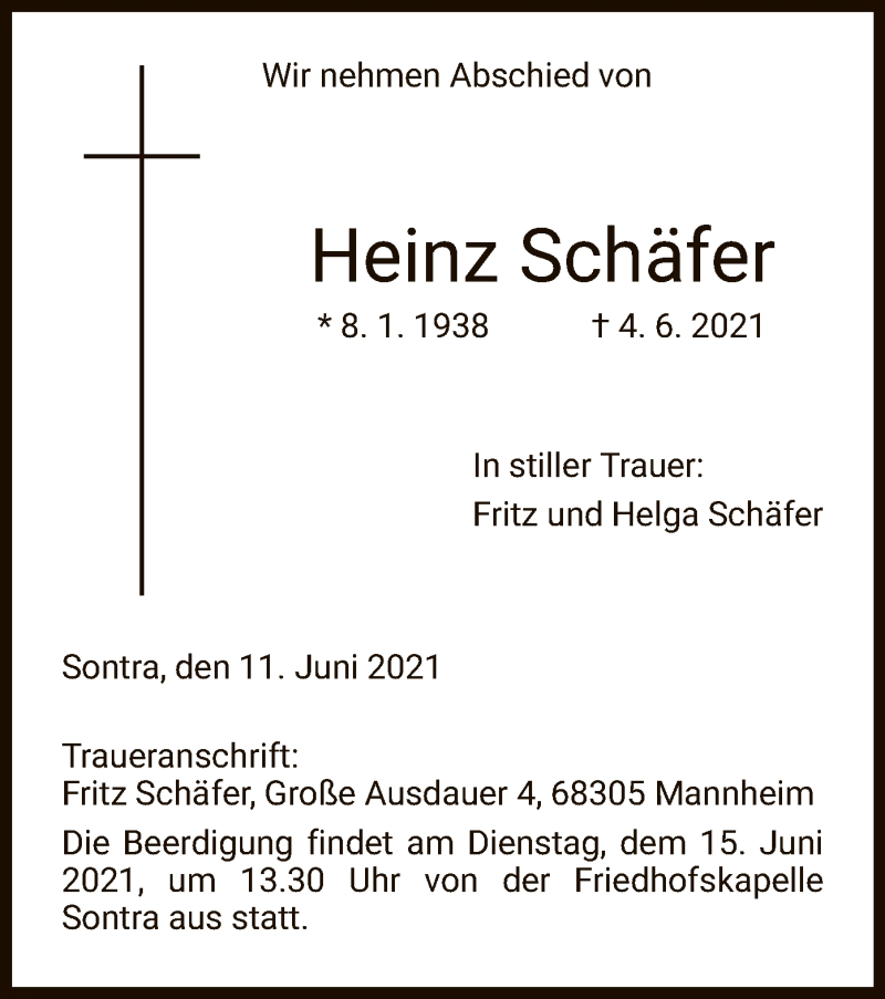 Traueranzeige für Heinz Schäfer vom 11.06.2021 aus WRS