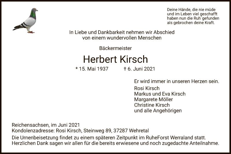 Traueranzeige für Herbert Kirsch vom 10.06.2021 aus WRS