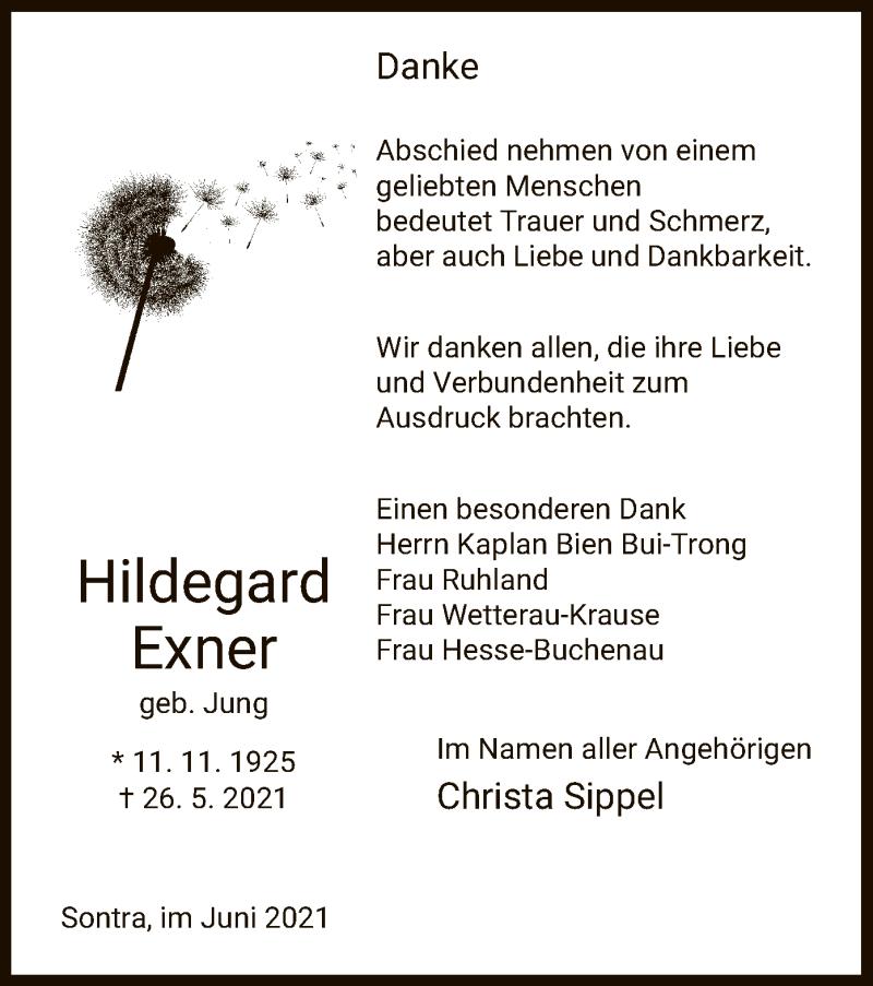 Traueranzeige für Hildegard Exner vom 12.06.2021 aus WRS