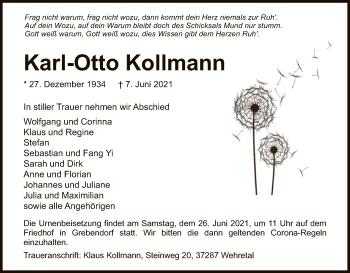 Traueranzeige von Karl-Otto Kollmann von WRS