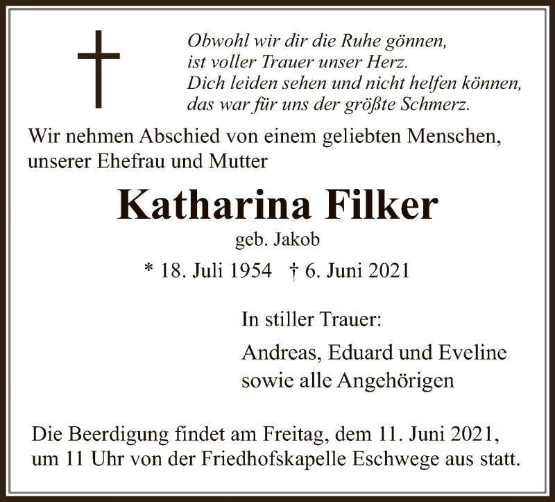 Traueranzeige für Katharina Filker vom 09.06.2021 aus WRS