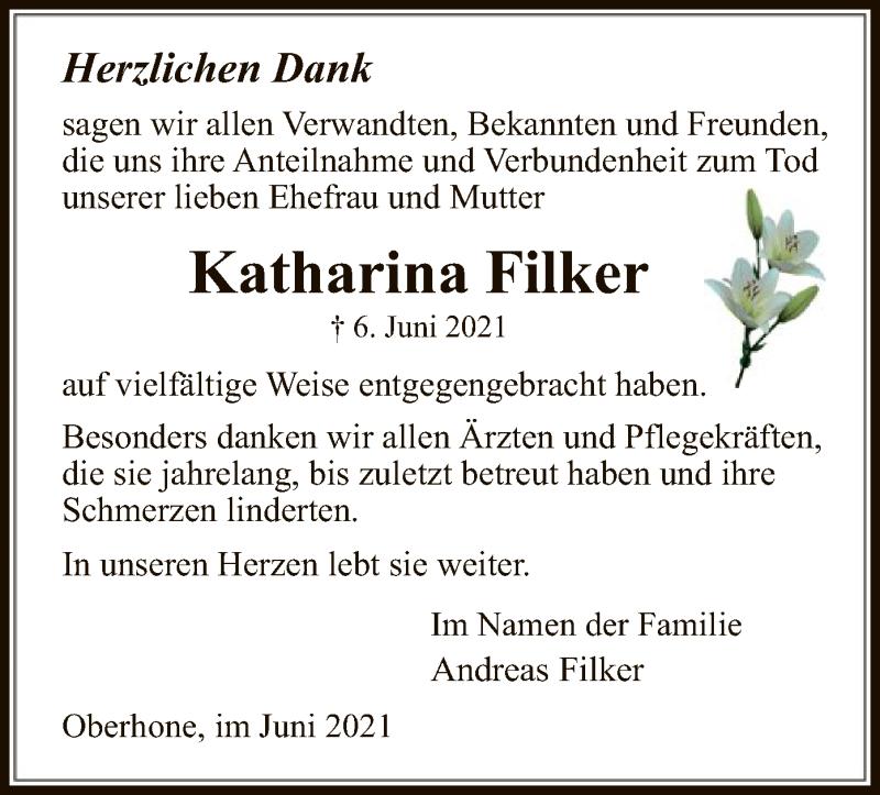 Traueranzeige für Katharina Filker vom 19.06.2021 aus WRS