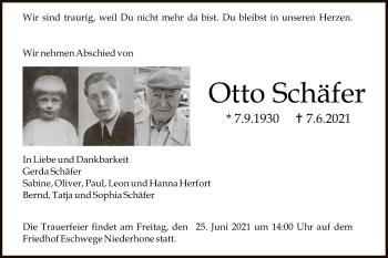 Traueranzeige von Otto Schäfer von WRS