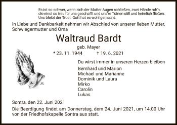 Traueranzeige von Waltraud Bardt von WRS