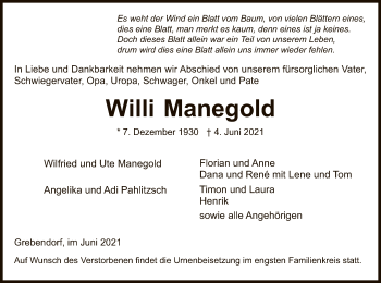 Traueranzeige von Willi Manegold von WRS