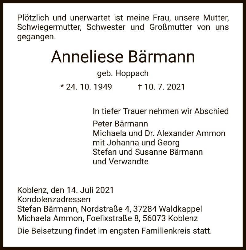Traueranzeige für Anneliese Bärmann vom 14.07.2021 aus WRS