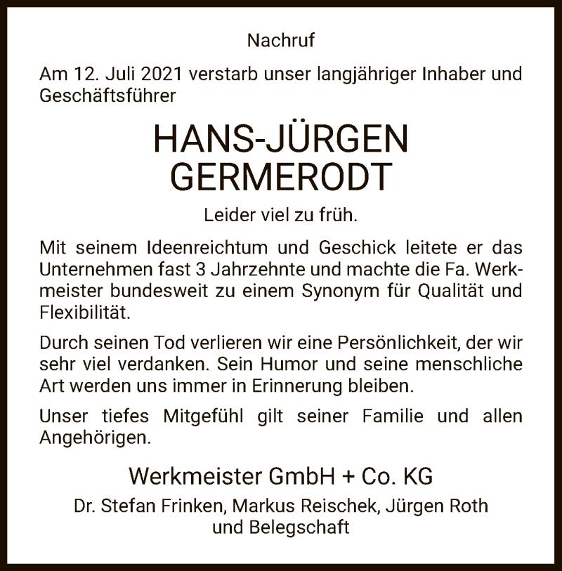 Traueranzeige für Hans-Jürgen Germerodt vom 24.07.2021 aus WRS