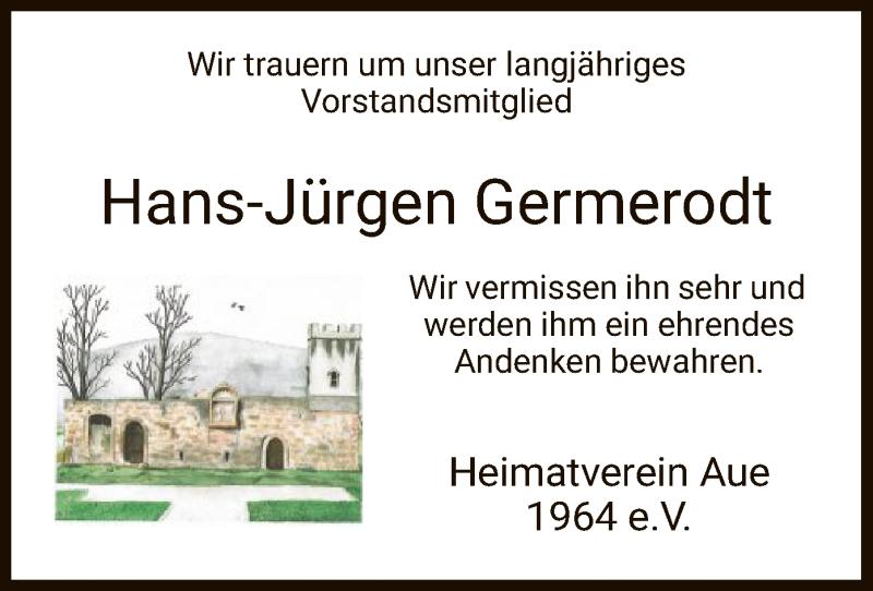 Traueranzeige für Hans-Jürgen Germerodt vom 23.07.2021 aus WRS