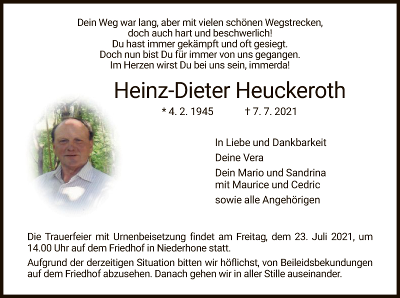 Traueranzeige für Heinz-Dieter Heuckeroth vom 17.07.2021 aus WRS