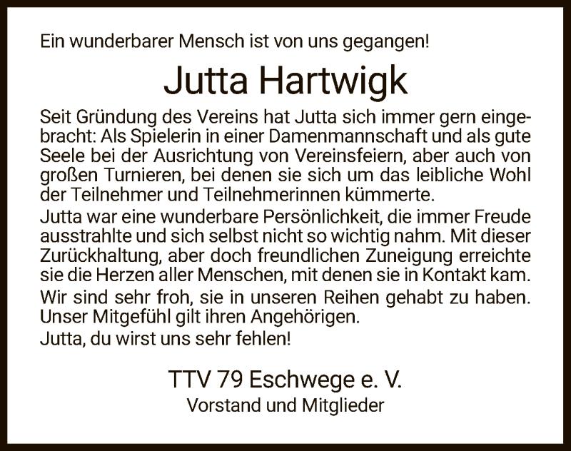 Traueranzeige für Jutta Hartwigk vom 15.07.2021 aus WRS