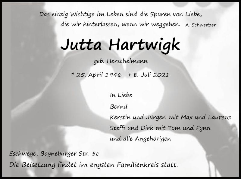 Traueranzeige für Jutta Hartwigk vom 14.07.2021 aus WRS