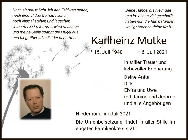 Traueranzeige für Karlheinz Mutke vom 10.07.2021 aus WRS