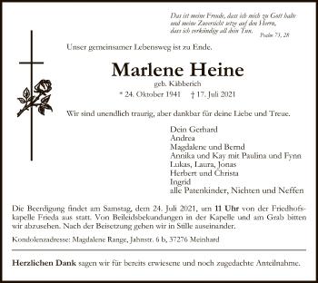 Traueranzeige von Marlene Heine von WRS