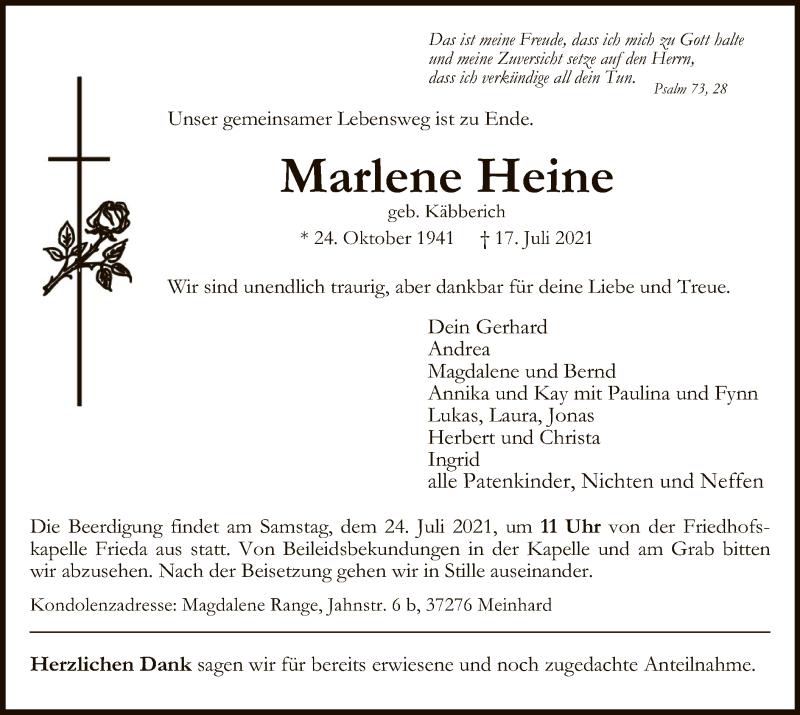 Traueranzeige für Marlene Heine vom 22.07.2021 aus WRS