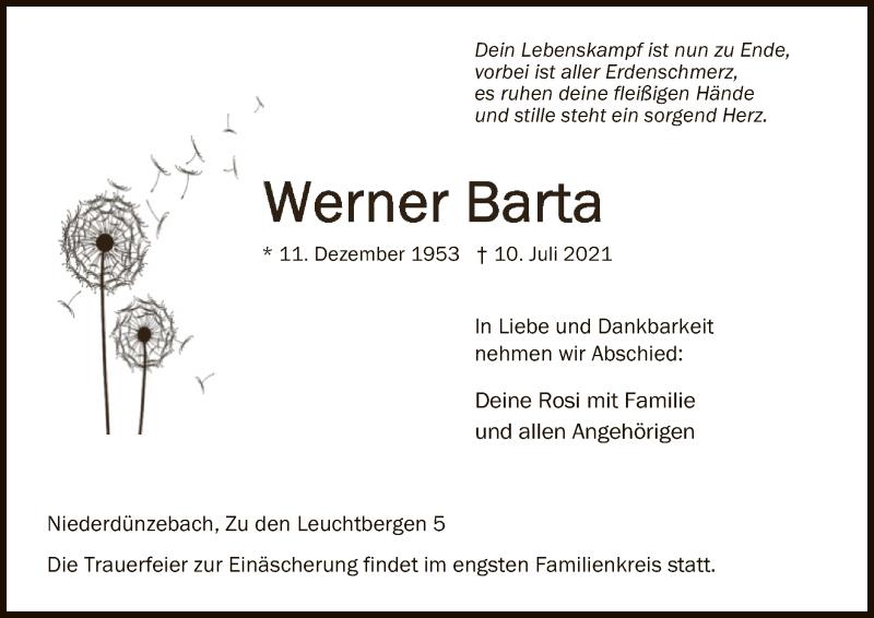Traueranzeige für Werner Barta vom 14.07.2021 aus WRS