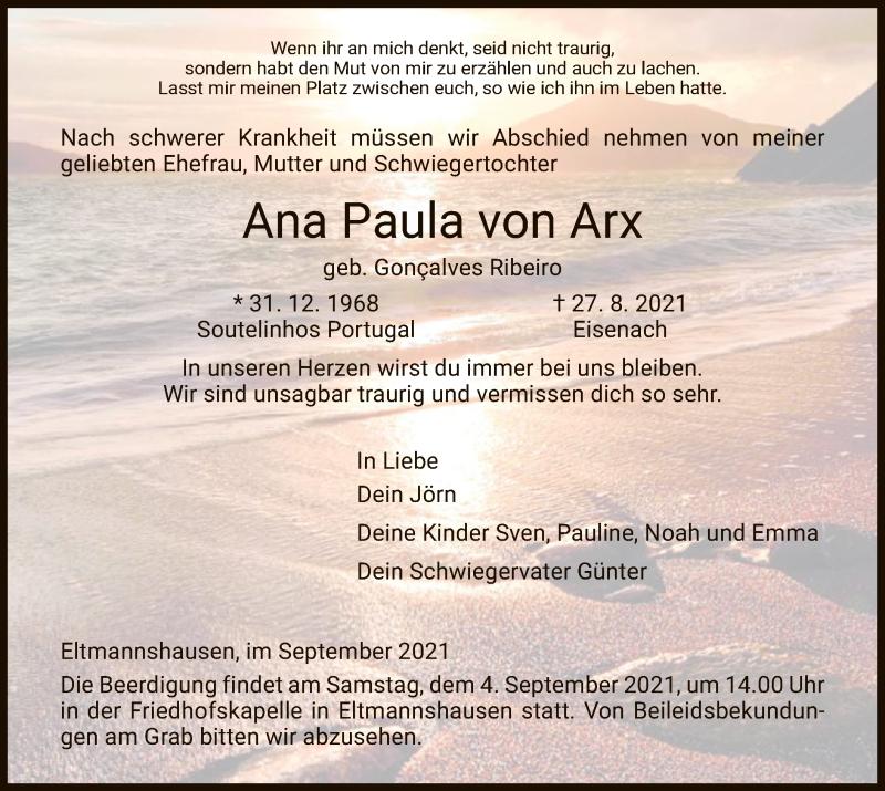 Traueranzeige für Ana Paula von Arx vom 01.09.2021 aus WRS