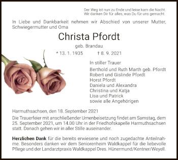 Traueranzeige von Christa Pfordt von WRS