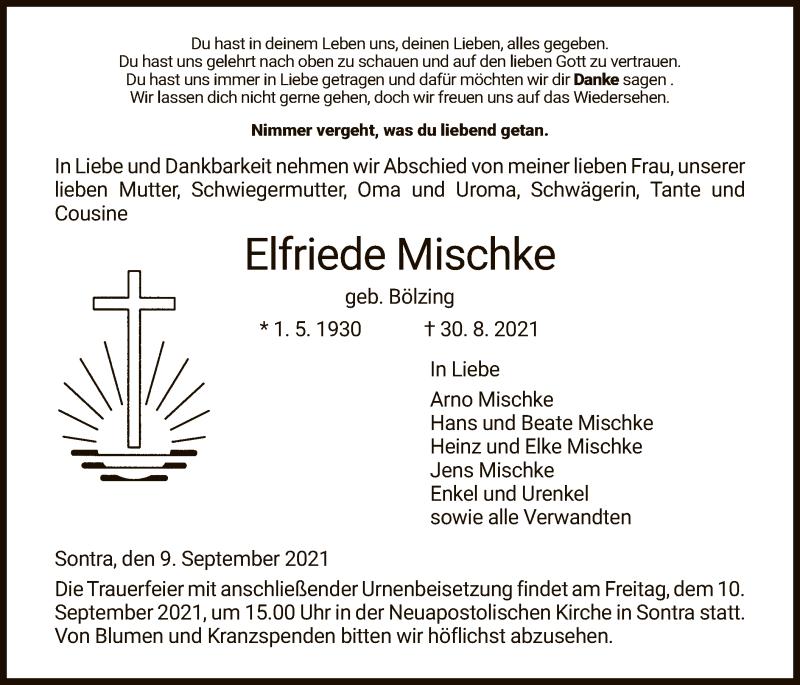 Traueranzeige für Elfriede Mischke vom 09.09.2021 aus WRS