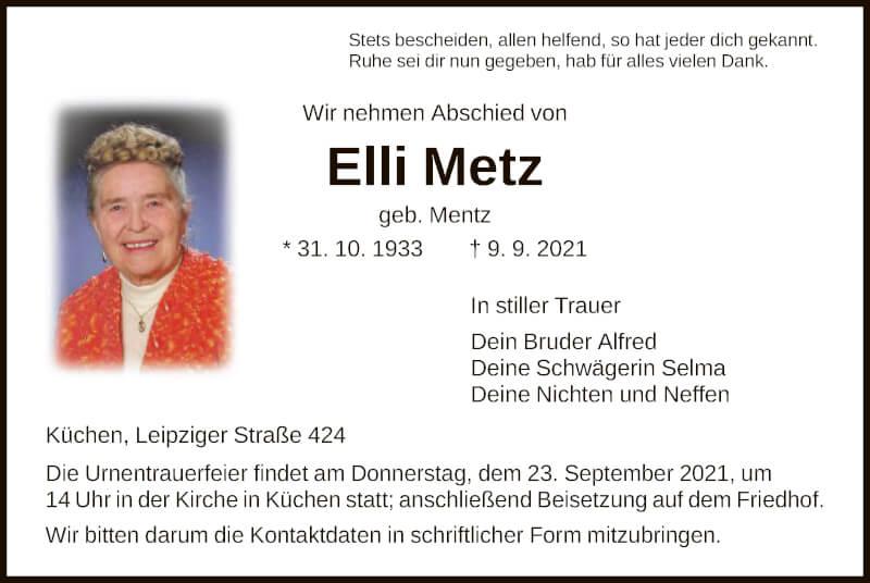 Traueranzeige für Elli Metz vom 18.09.2021 aus HNA