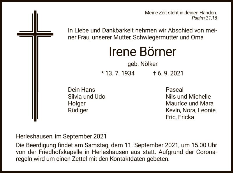 Traueranzeige für Irene Börner vom 09.09.2021 aus WRS