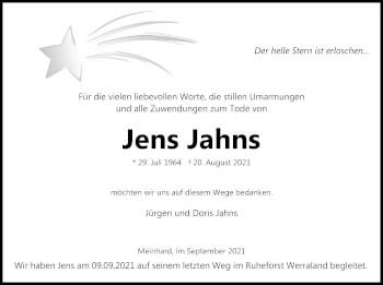 Traueranzeige von Jens Jahns von WRS