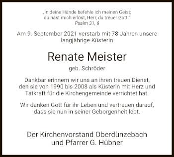 Traueranzeige von Renate Meister von WRS