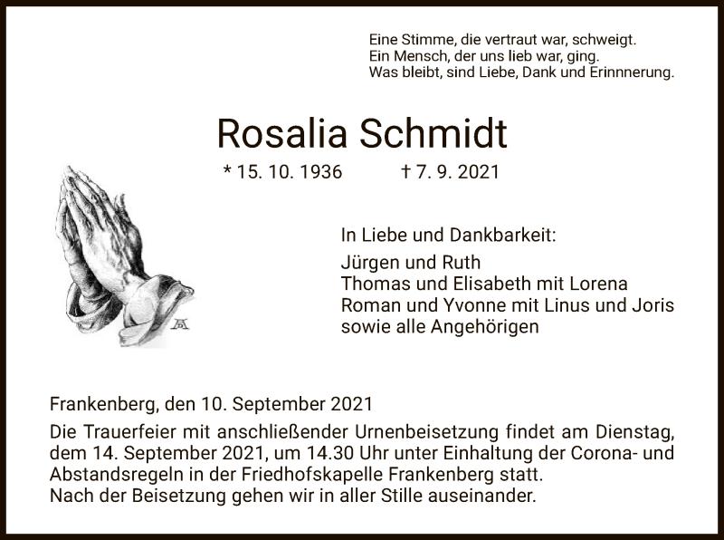Traueranzeige für Rosalia Schmidt vom 10.09.2021 aus WRS
