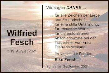 Traueranzeige von Wilfried Fesch von WRS